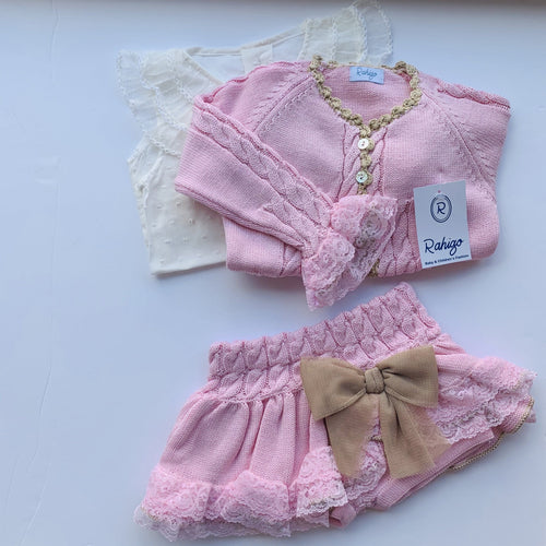 RAHIGO LOTTIE  BABY PINK WITH CAMEL TRIM THREE PIECE SET
