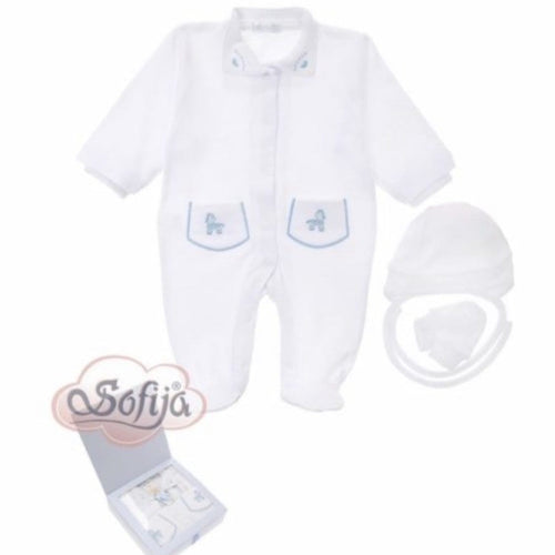 SOFIJA WHITE & BLUE THREE PIECE BABYGROW SET BOXED