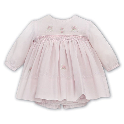 SARAH LOUISE PINK SMOCKED DRESS & KNICKERS