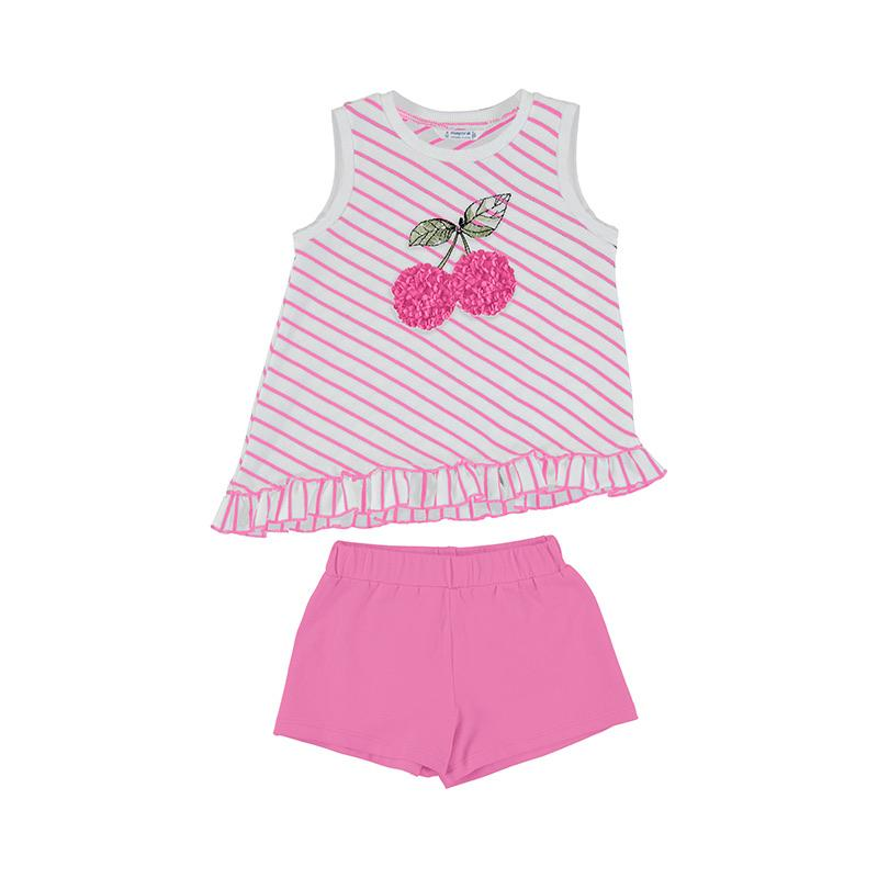 MAYORAL - Stripe Cherry Short Set - Pink