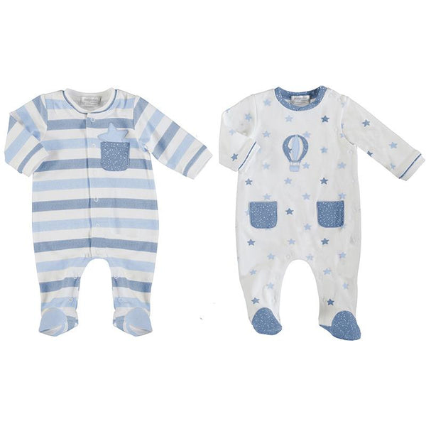 MAYORAL - Air Balloon Babygrow 2 Pack - Light Blue
