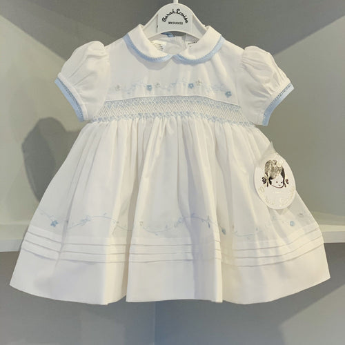 SARAH LOUISE  WHITE WITH BLUE DELICATE DETAIL SMOCKED DRESS WINTER