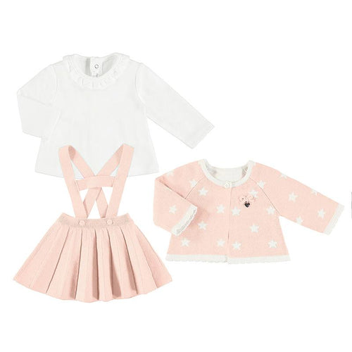 MAYORAL BABY ROSE THREE PIECE H BAR SKIRT SET