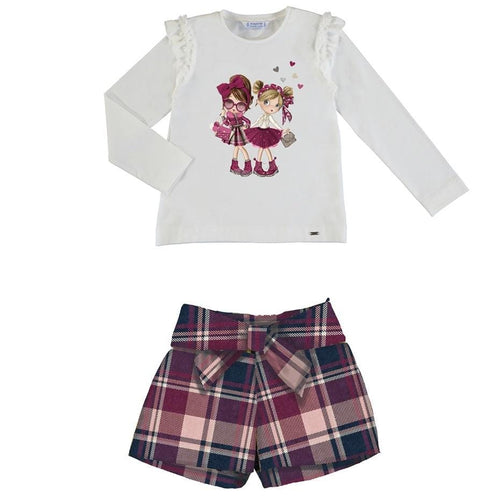 PREORDER MAYORAL BLUSH GIRLS TOP & TARTAN SHORTS