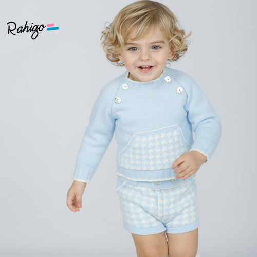 RAHIGO BABY BLUE DOG TOOTH JOEY TWO PIECE SET