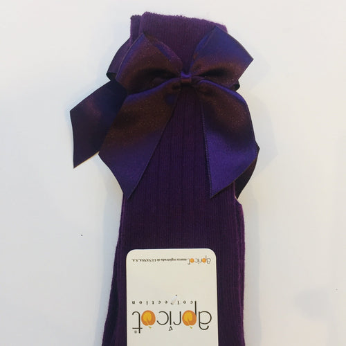 APRICOT PURPLE KNEE HIGH BOW SOCKS