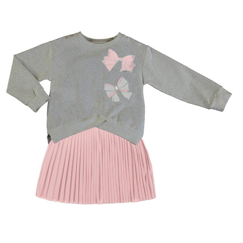 MAYORAL PINK BOW DRESS WITH PULLOVER TOP