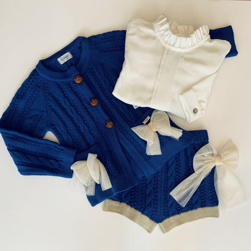 RAHIGO ROSIE BLUE WITH TAUPE TRIM THREE PIECE SET