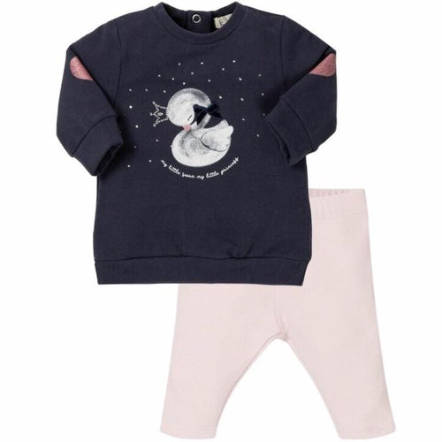PRE ORDER EVERYTHING MUST CHANGE BABY SWAN NAVY & PINK LEGGING SET