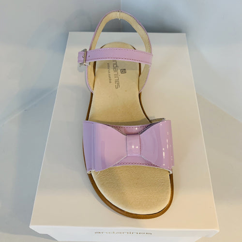 ANDANINES LILAC LEATHER OLDER GIRL PATENT SANDALS