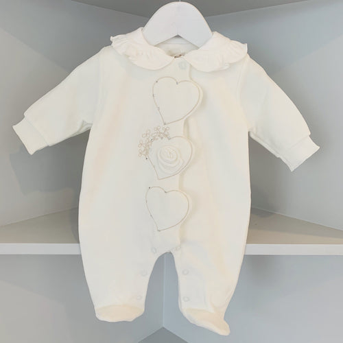 SOFIJA CREAM DIAMANTÉ VELOUR BABYGROW