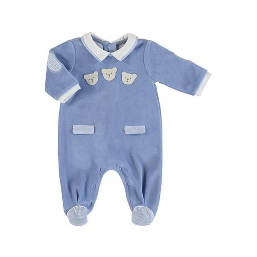 MAYORAL BLUE VELOUR BABYGROW