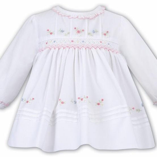 SARAH LOUISE WHITE SMOCKED DRESS WINTER 011636