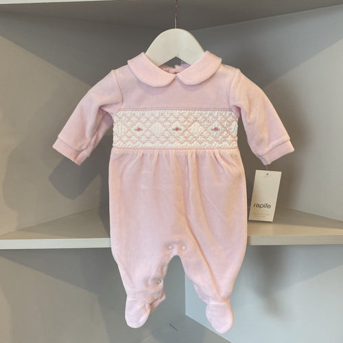 RAPIFE VELOUR PINK ROSE EMBROIDERED BABYGROW