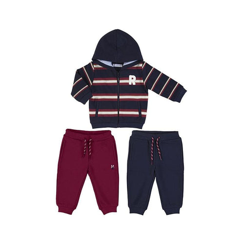 PREORDER MAYORAL TODDLER BORDEAUX MIXED STRIPED TRACKSUIT
