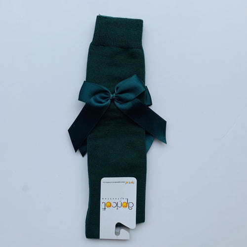 APRICOT BOTTLE GREEN OVER KNEE  BOW SOCKS
