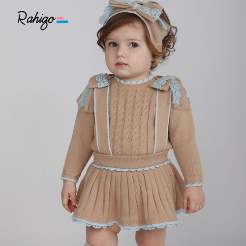 RAHIGO PINAFORE SET CAMEL WITH BABY BLUE TRIM INCLUDING HAIRBAND & SOCKS
