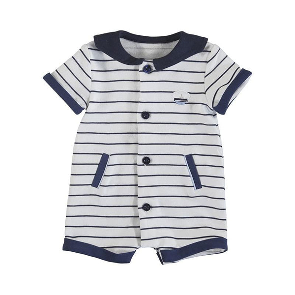 MAYORAL - Stripe Romper - Navy