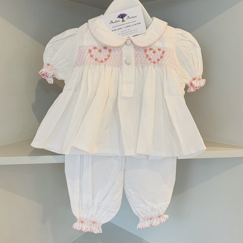 HANDMADE SMOCKED PINK LOVE HEART PJ'S