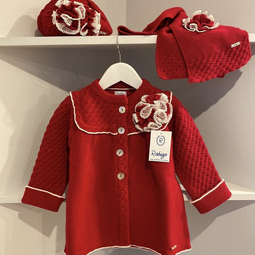 RAHIGO ELIZABETH RED COAT SET INCLUDING HAT & SCARF