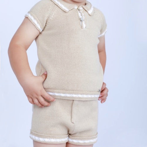 RAHIGO CAMEL / WHITE JOEY  TWO PIECE SET