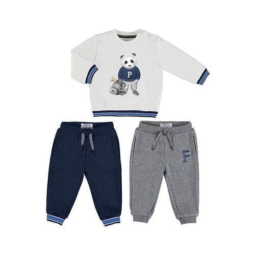 MAYORAL TODDLER WHITE PANDA 2 PANTS TRACKSUIT