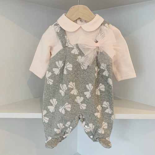 BARCELLINO GREY BOW BABYGROW