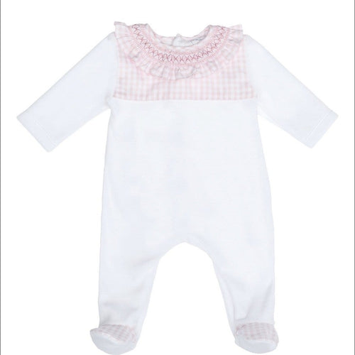 LARANJINA GIRLS SMOCKED VELOUR BABYGROW