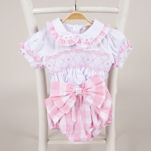 CARAMELO KIDS PINK SMOCKED SET