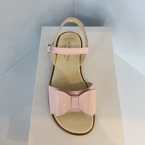 ANDANINES BABY PINK LEATHER OLDER GIRL PATENT SANDALS