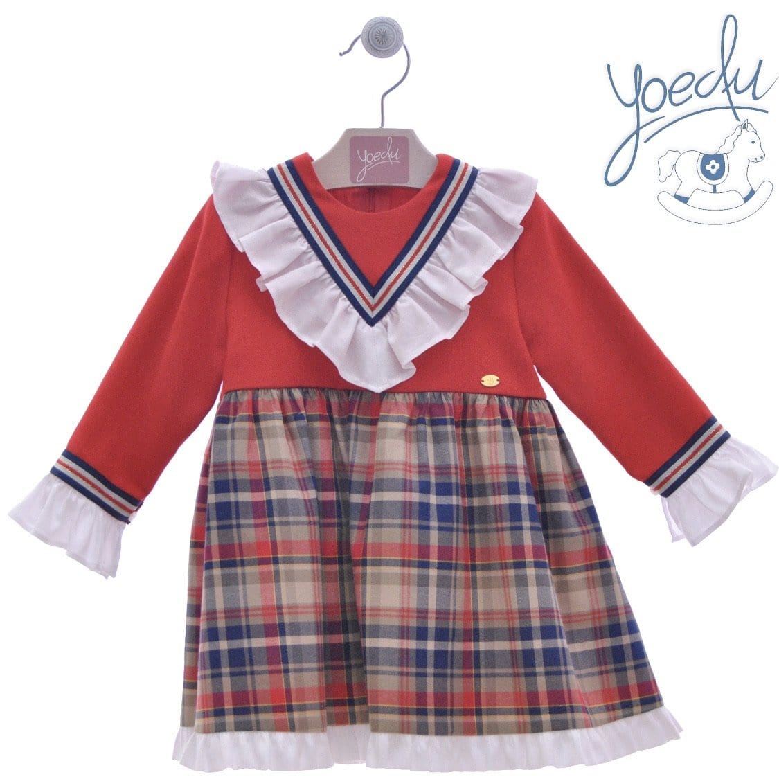 YOEDU  GIRLS LARGE CHECK DRESS