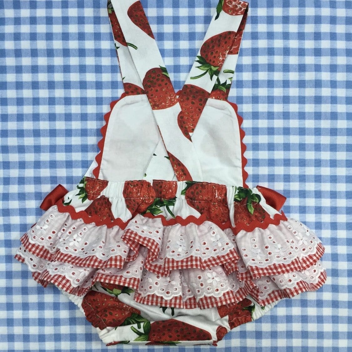 BLUEBELLS  STRAWBERRY ROMPER WITH BONNET