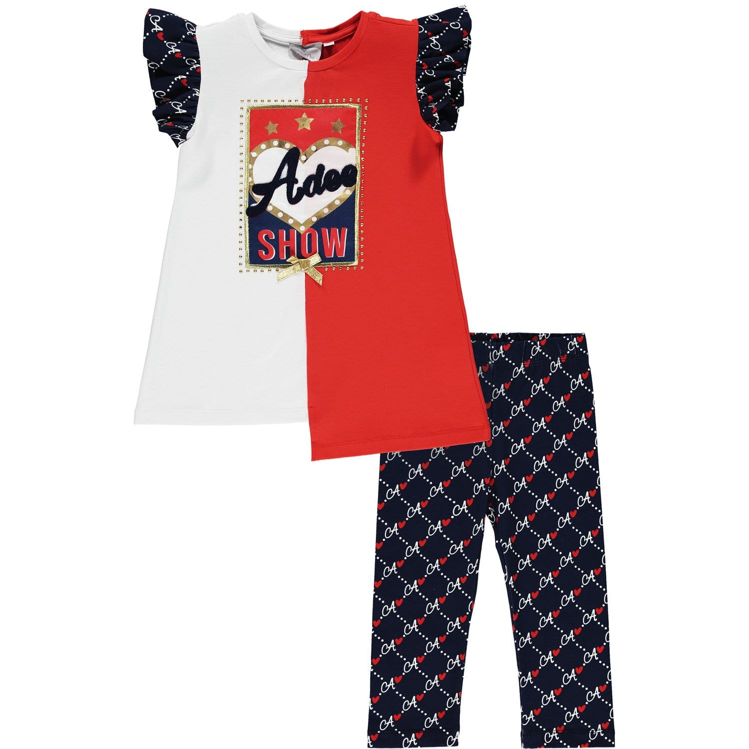 A Dee -  Two Piece Legging Set - Red/Navy/White