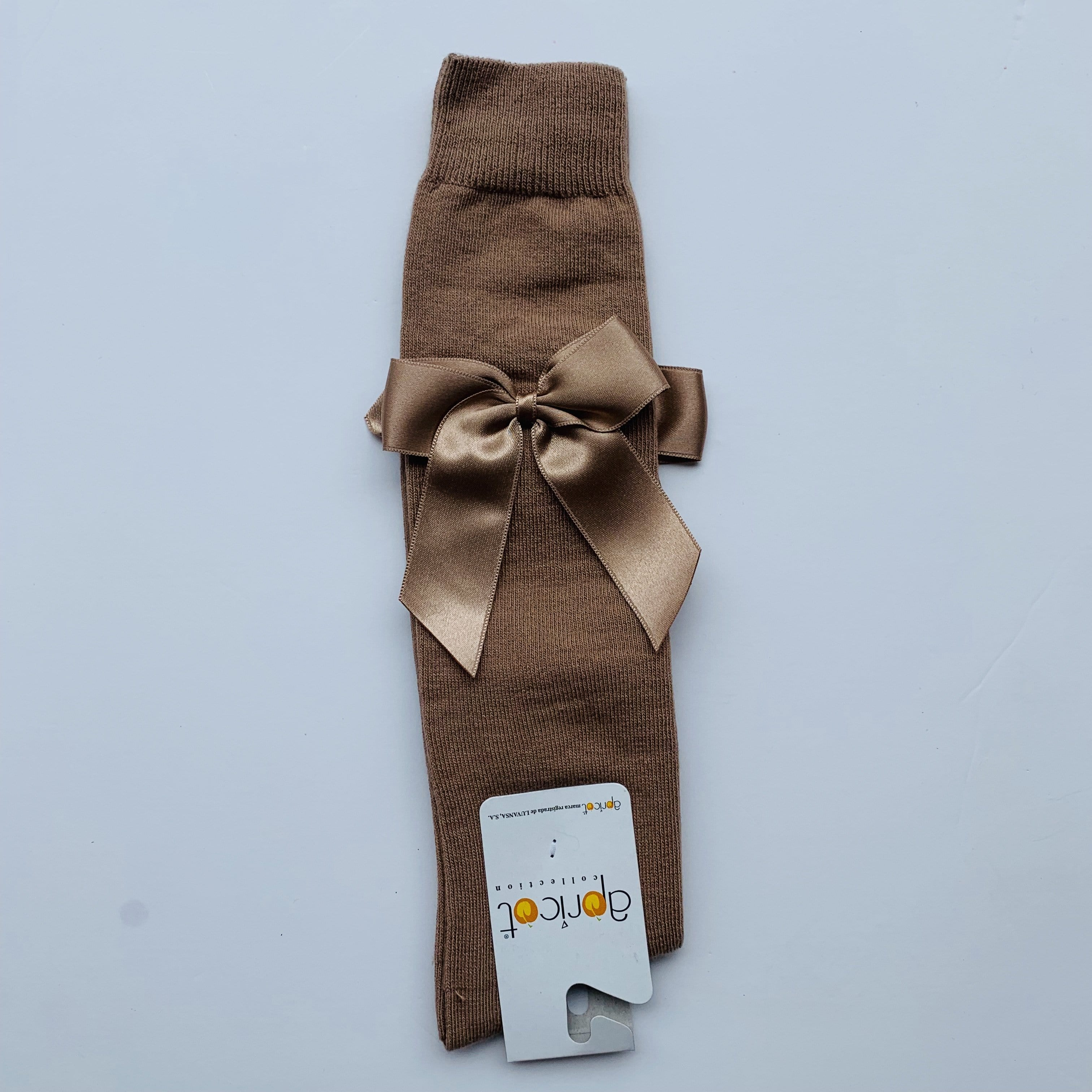 APRICOT LIGHT BROWN OVER KNEE  BOW SOCKS