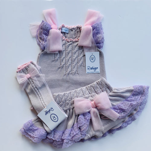 RAHIGO LOLA   LILAC WITH PINK TRIM THREE PIECE SET INCLUDING SOCKS