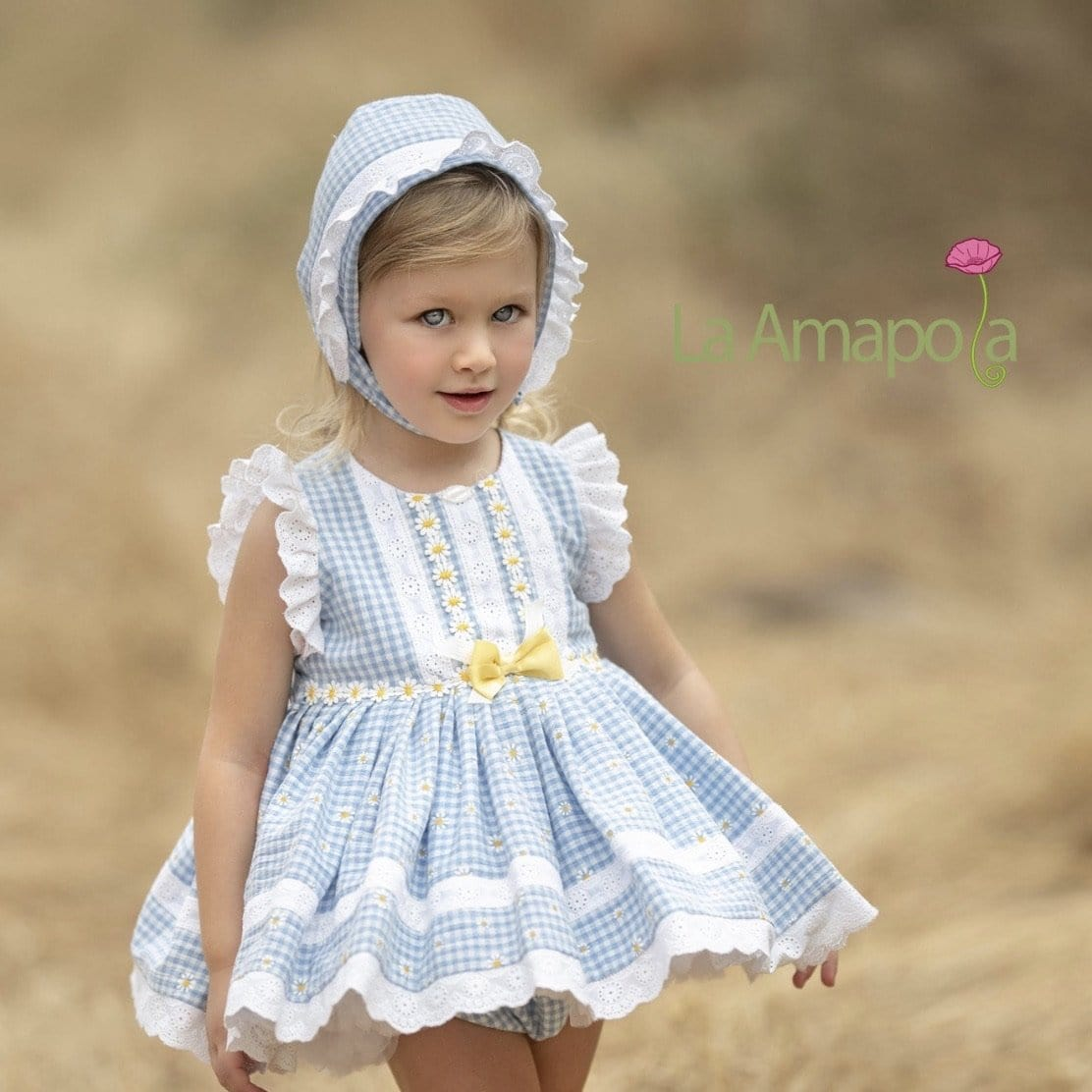 LA AMAPOLA  DAISY BABY DRESS & BONNET