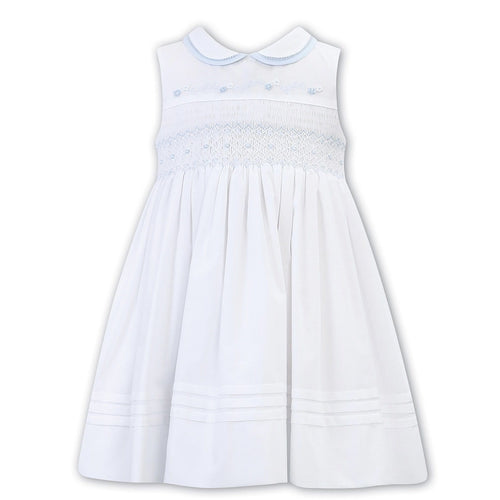 SARAH LOUISE SLEEVELESS WHITE WITH BLUE SMOCKED DRESS WINTER