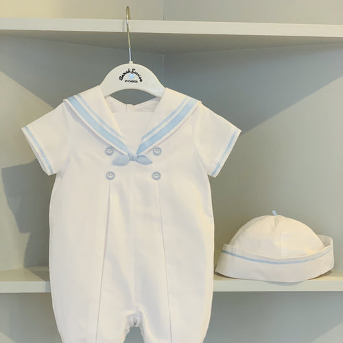 SARAH LOUISE WHITE/  BABY BLUE BOYS SAILOR SET