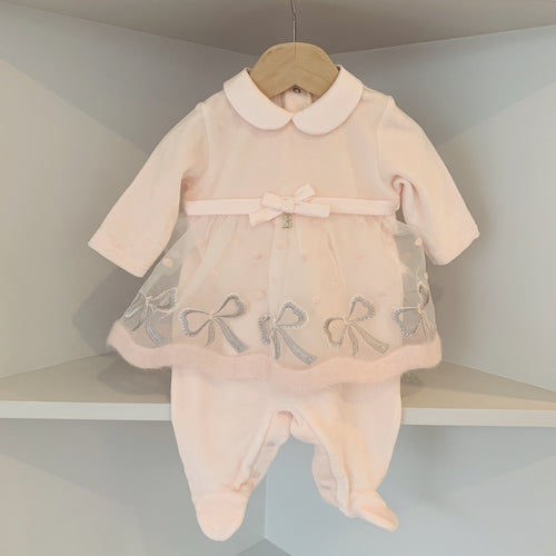BARCELLINO DRESS BOW BABYGROW