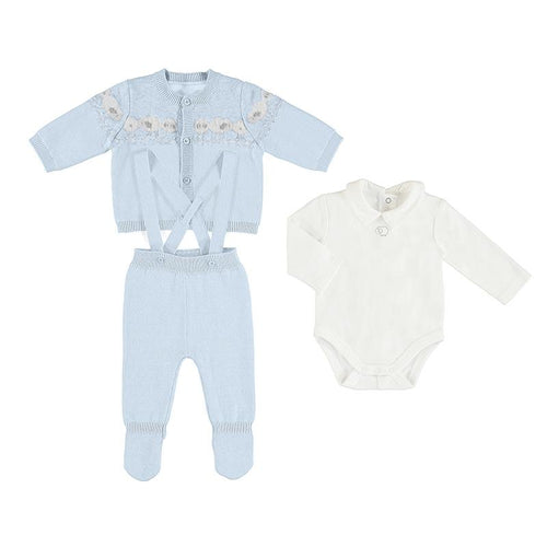 MAYORAL BABY BLUE THREE PIECE KNIT SET