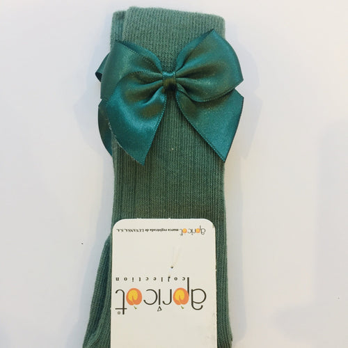 APRICOT OLIVE GREEN KNEE HIGH BOW SOCKS
