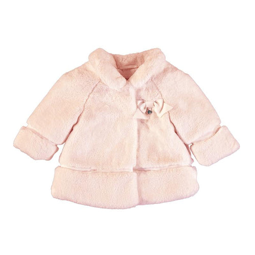 MAYORAL BABY PINK FAUX FUR COAT