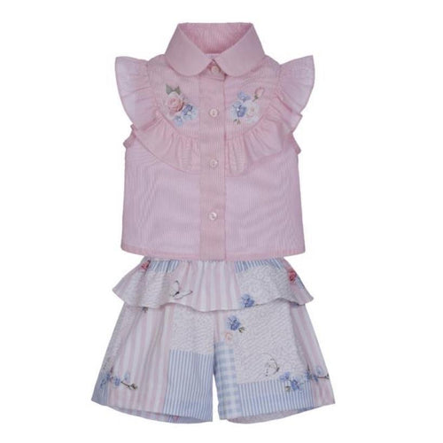 LAPIN HOUSE PINK PATCHWORK BLOUSE & SHORT SET
