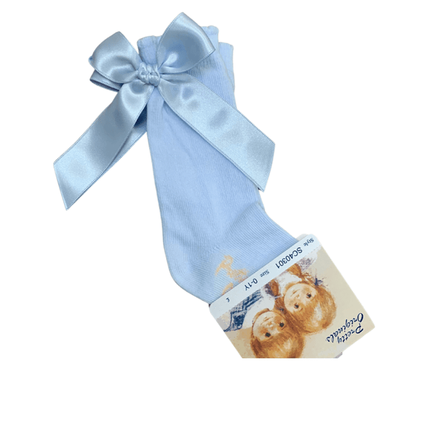 PRETTY ORIGINALS - Back Bow Knee High Sock - Baby Blue
