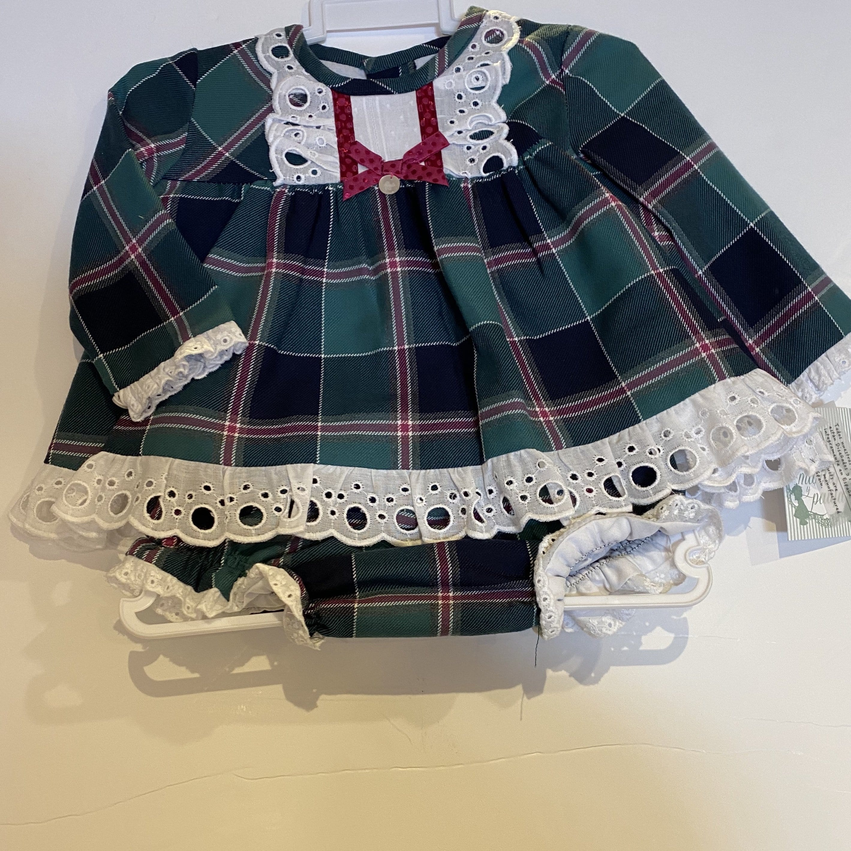 MARTA Y PAULA PLUM TARTAN DRESS WITH BONNET AND KNICKERS