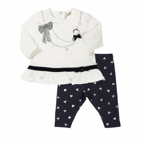 PRE ORDER EVERYTHING MUST CHANGE BABY SWAN WHITE & NAVY LEGGING SET