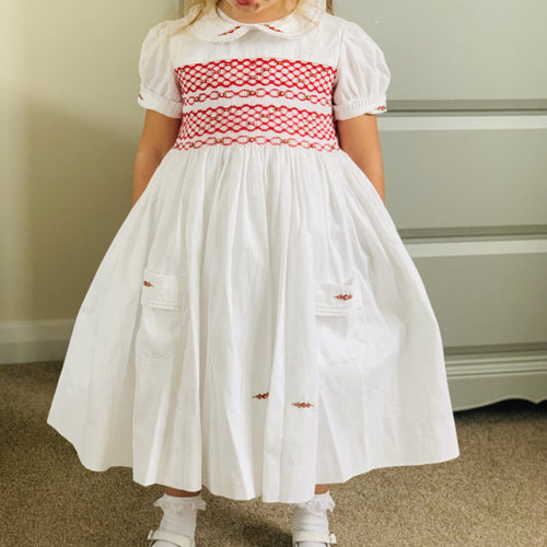 HANDMADE SMOCKED RED ROSE DRESS