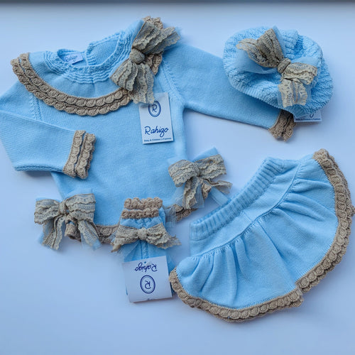 RAHIGO LOTTIE BABY BLUE WITH CAMEL TRIM FOUR PIECE SET