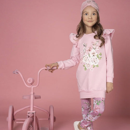EIRENE ROSE PRINT TUNIC LEGGING SET WITH SWAROVSKI CRYSTALS