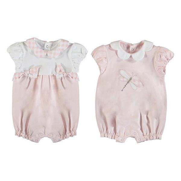 MAYORAL - Dragonfly Romper 2 Pack - Pink/White